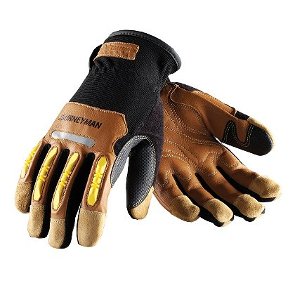 PIP: Maximum Safety, Journeyman Professional Workmans Glove, Brown Goatskin, Hi-Vis Yellow Knuckle Protector