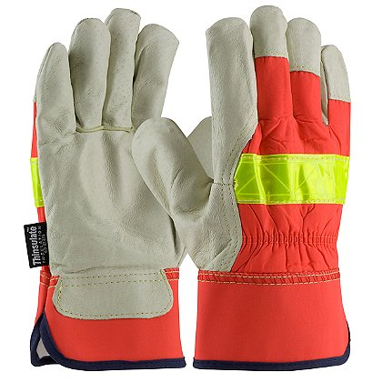 PIP Hi-Vis Leather Gloves, Insulated, Top Grain Pigskin Leather Palm with 3M Thinsulate, Rubberized Safety Cuff, Box of 12