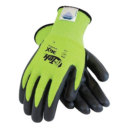 PIP G-Tek 3GX Cut Resistant Gloves, DSM Dyneema, Lime Green Knit w/ Black Foam Nitrile Palm Coating, EN388 Level 5, Box of 12