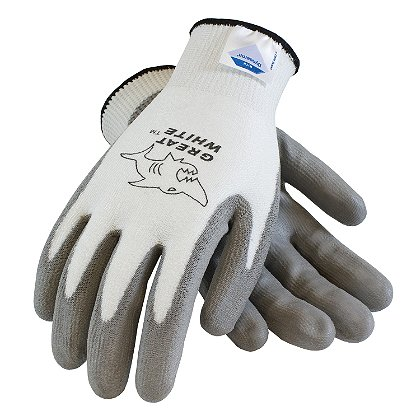 PIP: Great White Cut Resistant Gloves, DSM Dyneema/Lycra White, Gray Poly Coated Palm & Fingers, Box of 12