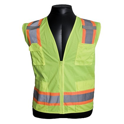 PIP ANSI Class 2, Surveyor's Vest with Zipper Closure, Solid Front, Mesh Back, 6 Pocket, Two-Tone Tape, MIC Tabs