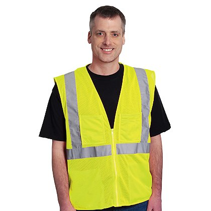 PIP: ANSI Class 2, Economy Mesh Vest Zipper Closure, 4 Pocket, Matching Trim