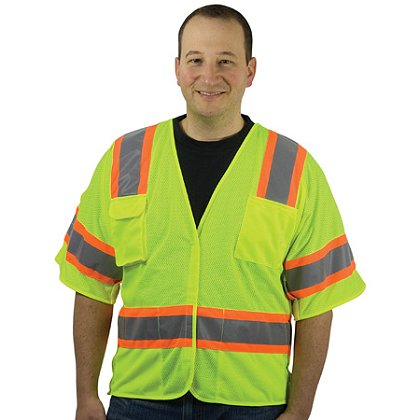 PIP: ANSI Class 3 Mesh Breakaway Vest Hook & Loop Closure, with Two-Tone Tape, 4 Pockets
