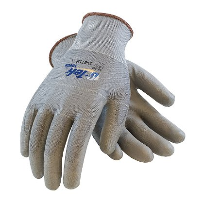 PIP G-Tek Touch Glove, Gray Poly Coated Palm & Fingers on Seamless Knit Poly, Box of 12