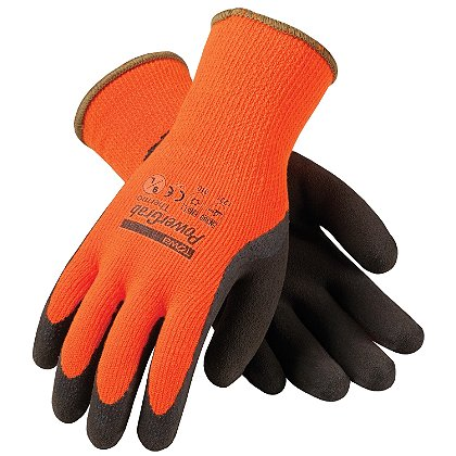 PIP: Powergrab Thermo Glove, Hi-Vis Orange Acrylic Terry Shell, Brown MicroFinish Grip, Box of 12