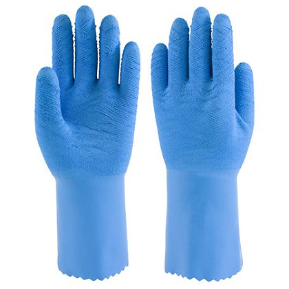 PIP Fully Coated Latex Gloves, Seamless Knitted Liner, Crinkle Finish, Blue Pinked Cuff, Available in Box of 12