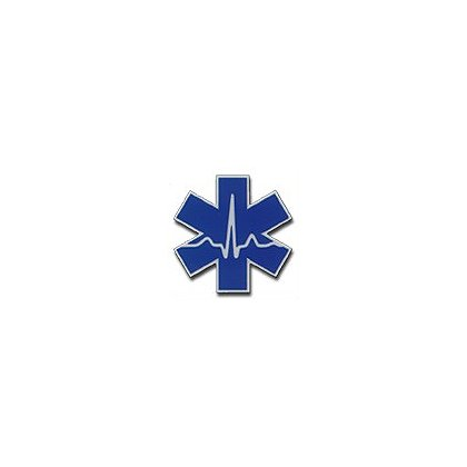3Decals Cardiac Star of Life Reflective Decal 2 Color Blue on White