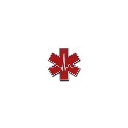 3Decals Cardiac Star of Life Reflective Decal 2 Color Red on White