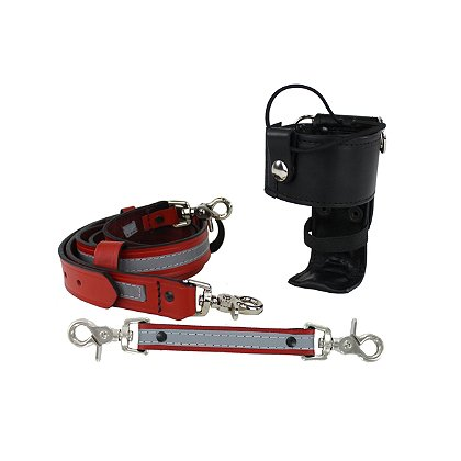 Boston Leather: TheFireStore Exclusive Red Reflective Leather Combo Kit, Radio Strap, Holder and Anti-Sway Strap