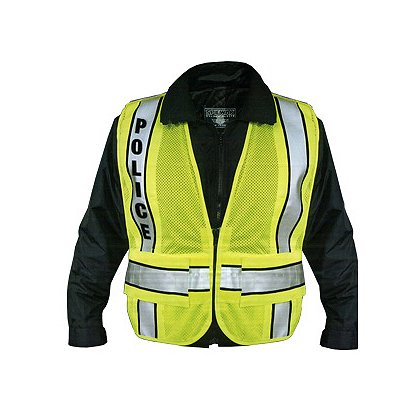 Spiewak: Police Safety Vest, Hi-Vis Yellow, Black Trim, Lettering