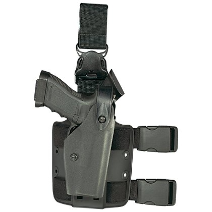 Safariland Model 6005 SLS Tactical Holster with Quick Release Leg Harness, Tactical Black, Hood Guard