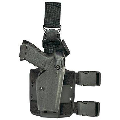 Safariland Model 6005 SLS Tactical Holster with Quick Release Leg Harness, Tactical Black, Hood Guard