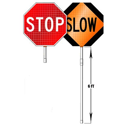 Dicke Roll-Up Stop/Slow Paddles, SuperBright Reflective, for Emergency Traffic Control, MUCTD Compliant