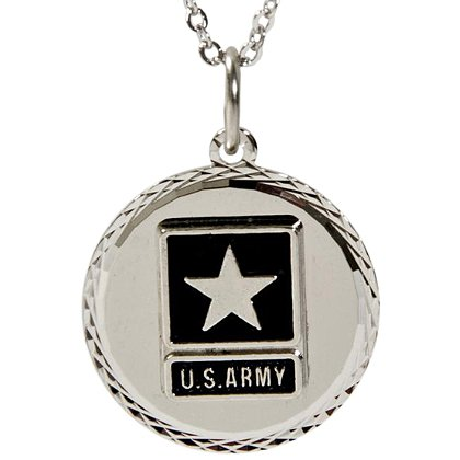 Son Sales Army Classic Pendant Silver Tone Diamond Cut Edging with 18 Inch Silver Chain