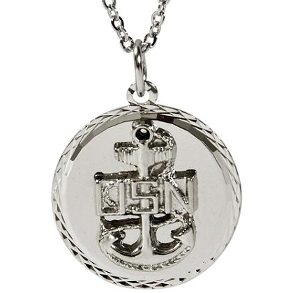 Son Sales Navy Classic Pendant Silver Tone Diamond Cut Edging with 18 Inch Silver Chain