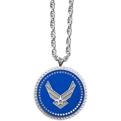 Son Sales Presidential Series Air Force Pendant, Silver Tone with Applied Emblem, 18