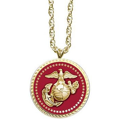 Son Sales: Marine Corps Pendant Presidential Series 18K Gold Plate with Applied Emblem, 18