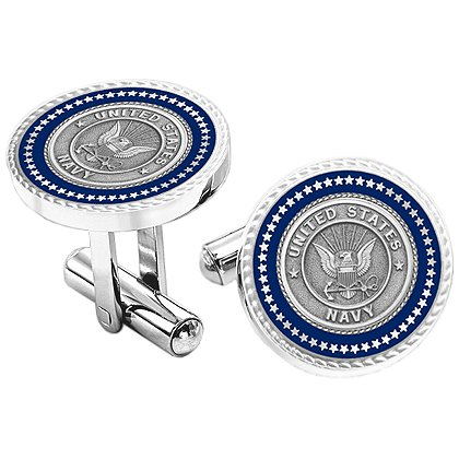 Son Sales: Presidential Series Navy Cuff Links, Silver Tone with Emblem, Bullet Style Straight Action