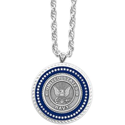 Son Sales Navy Pendant Presidential Series Silver Tone with Applied Emblem 18