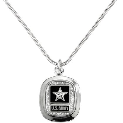 Son Sales Army Classic Pendant Sterling Silver with Round Brilliant Diamond & Matte Background & Service Branch Insignia with 18