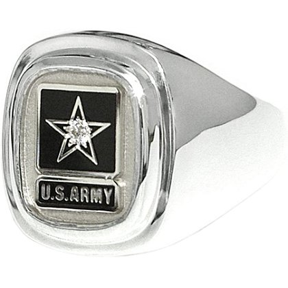Son Sales Army Classic Diamond Ring Sterling Silver Signet Style with Round Brilliant Diamond & Polymer Service Branch Insignia