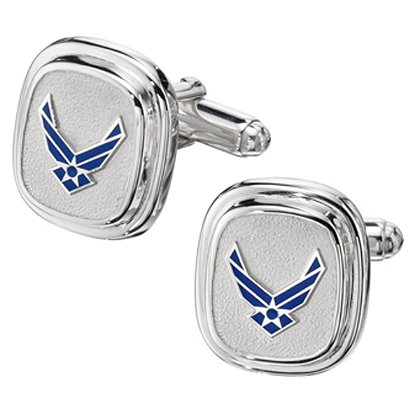 Son Sales Air Force Classic Cuff Links, Elegant Sterling Silver with Polymer Service Branch Insignia with Bullet Action