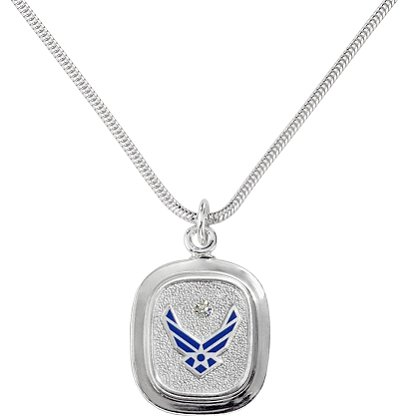 Son Sales: Air Force Classic Pendant Sterling Silver with Round Brilliant Diamond & Polymer Service Branch Insignia with 18