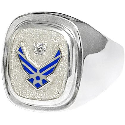 Son Sales: Air Force Classic Diamond Ring Sterling Silver Signet Style with Round Brilliant Diamond & Polymer Service Branch Insignia