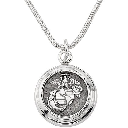 Son Sales Marine Corps Classic Pendant Sterling Silver with Polymer Branch Insignia with 18