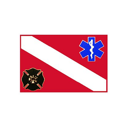 TheFireStore Dive Flag with Star of Life and Maltese Cross, 2
