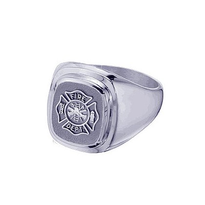 TheFireStore Men's Fire Department Ring, Sterling Silver