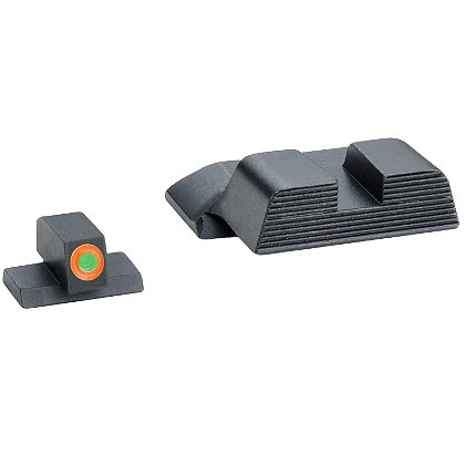 AmeriGlo: Smith & Wesson M&P Tritium Hackathorn Sight Set fits All M&P models (except Shield), ProGlo Orange Outlined Front Sight