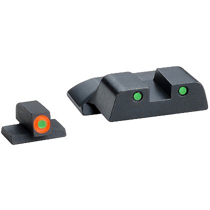 AmeriGlo Smith & Wesson M&P Tritium Spartan Tactical Sight Set fits All M&P models (except Shield), 3 Dot with Green Rear Sight