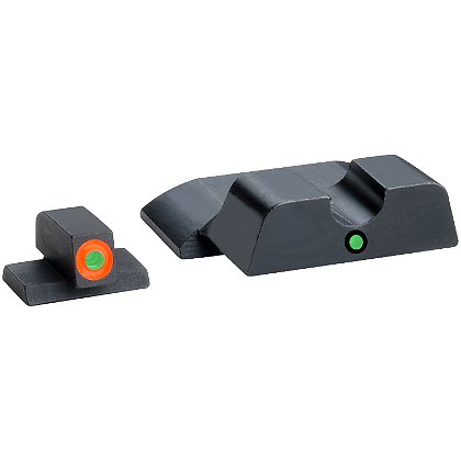 AmeriGlo Smith & Wesson M&P Tritium Pro i-Dot Sight Set fits All M&P models (except Shield) with Orange Outlined Front Sight and Round Rear Notch