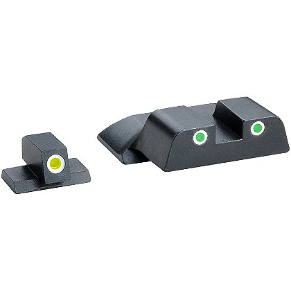 AmeriGlo: Smith & Wesson M&P Tritium Classic 3 Dot Sight Set fits All M&P Models (Except Shield), Yellow Rear Dot