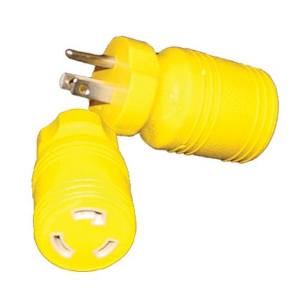 Tele-Lite Adapter,  Male 15A, 125V Straight Blade to Female 15A, 125V Twist Lock
