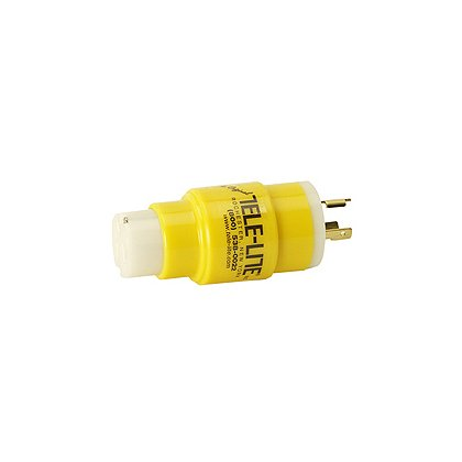 Tele-Lite:  Adapter, Male 20A, 125V Twist Lock to Female 20A, 125V Straight Blade