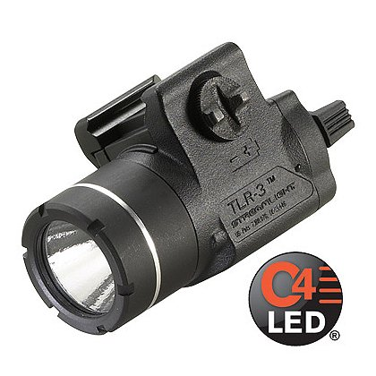 "Streamlight: TLR-3 Compact Rail-Mounted C4 LED Weapon Light, 1 CR2 Battery, 125 Lumens, 2.71"" Long"