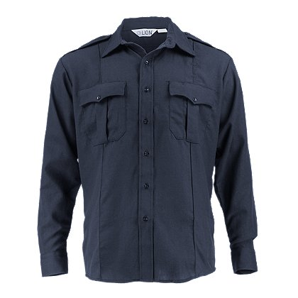 Lion: StationWear Plain Weave Navy Bravo Long Sleeve Shirt 4.5oz. Nomex IIIA