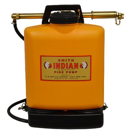 Smith: Indian Fire Pump, Lightweight Polyethylene Wildland Fire Tank with Brass Pump, 5 Gallon