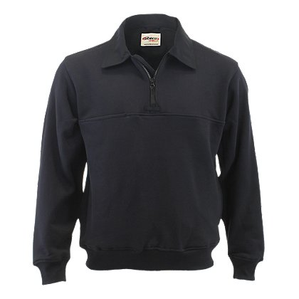 Elbeco: 1/4 Zip Pullover with Twill Collar and Elbows, Navy