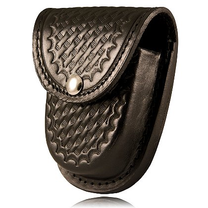 Boston Leather: Handcuff Holder w/ Snap, Rounded Bottom and Slotted Back, Black