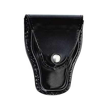 Boston Leather: Handcuff Holder w/ Snap Closure and Slotted Back, Fits Standard Cuffs, Black