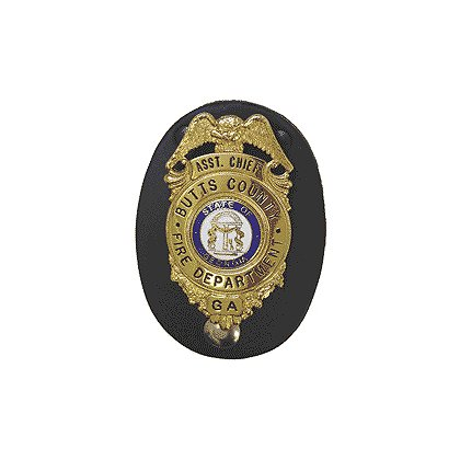 Boston Leather Leather Badge Holder - Oval