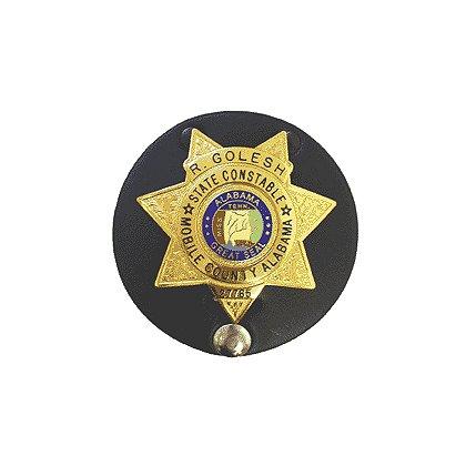 Boston Leather Leather Badge Holder - Round