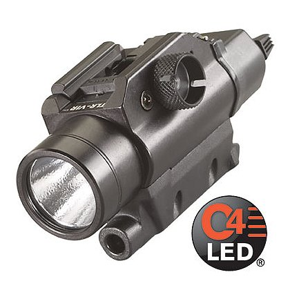 "Streamlight: TLR VIR Rail-Mounted C4 LED Weapon Light with LED IR Illuminator, 2 CR123A Batteries, 300 Lumens, 3.82"" Long"