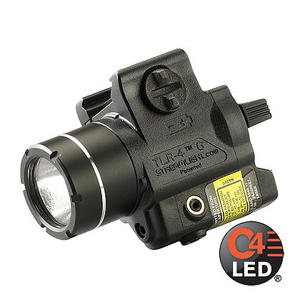 Streamlight TLR-4G Compact Rail Mounted C4 LED Weapon Light with Integrated Green Aiming Laser, 1 CR2 Battery, 115 Lumens, 2.73� Long