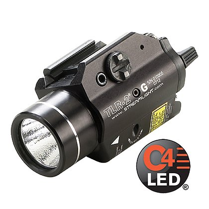"Streamlight: TLR-2 G Rail-Mounted C4 LED Weapon Light with Green Aiming Laser, 1 CR123A Battery, 200 Lumens, 3.39"" Long"