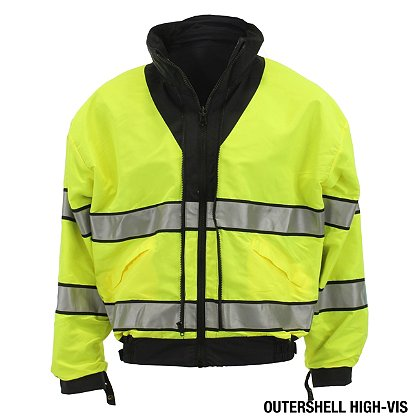 Gerber Outerwear Thriller SX Reversible Waist Length Jacket with Removable Liner Jacket, ANSI 107 Class 3