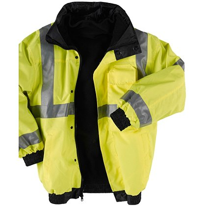 Neese: High Visibility Lime and Silver 3M Reflective Trim Bomber Jacket with Removable Fleece Liner